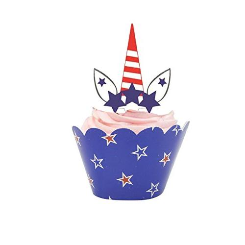 4th July Wrappers Cupcake Toppers for American Day Veterans Day Decoration of 24
