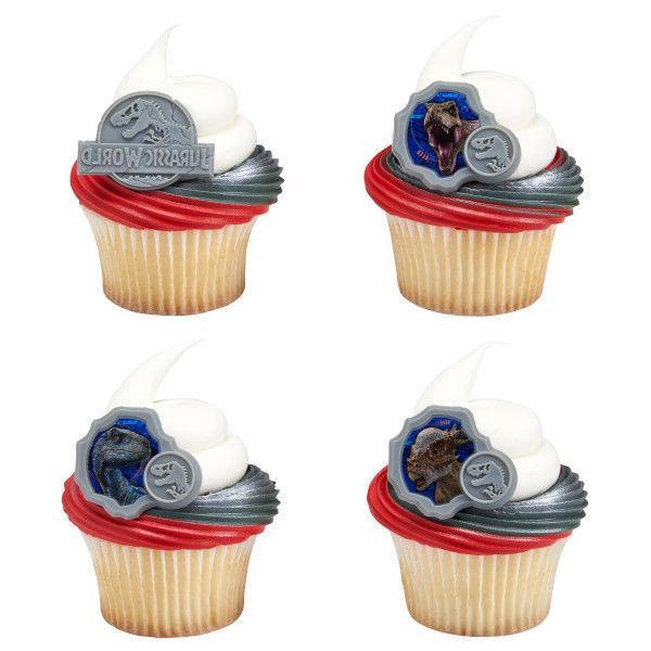 Jurassic World Cupcake Topper Rings - Set of 12