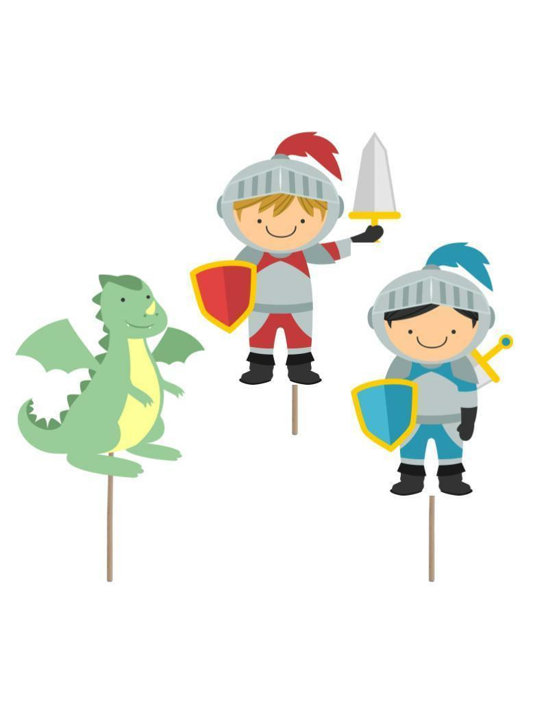 Knight Birthday cupcake toppers, knight theme, knight party
