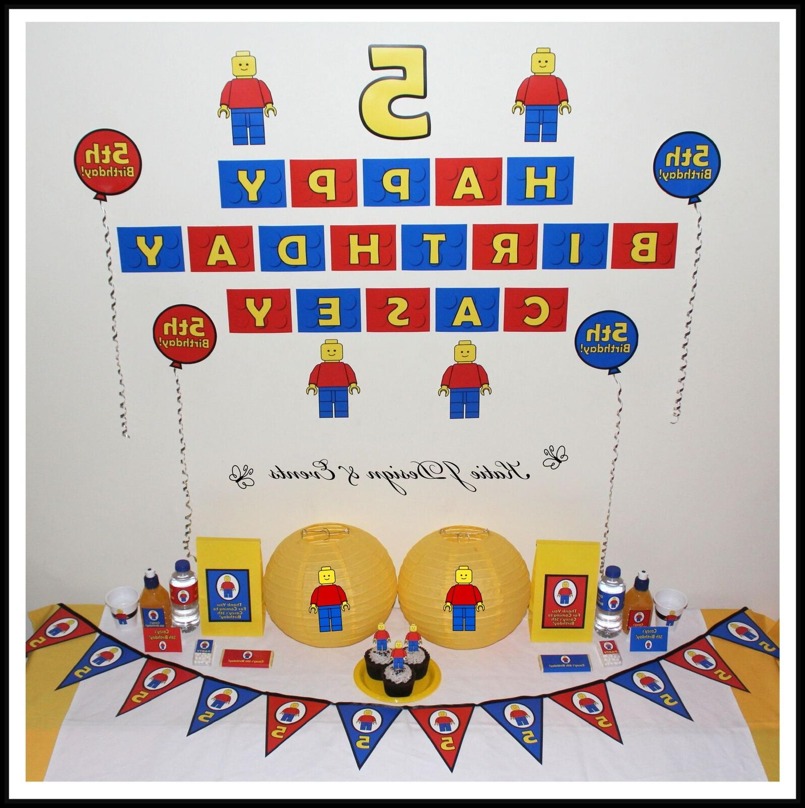 * LEGO MAN BRICKS PERSONALISED 5th 6th Birthday Party Decora