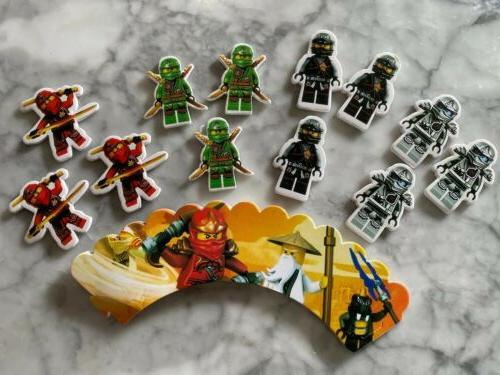 lego ninjago cupcake toppers and wrappers set