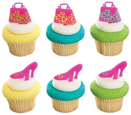 leopard print purse cupcake picks