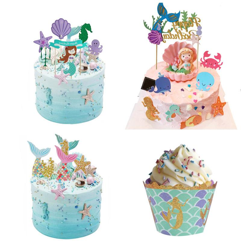 Little <font><b>Mermaid</b></font> Wrappers Happy Birthday <font><b>Topper</b></font> Birthday Under The Sea Theme Girl Supply