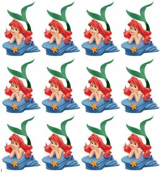 little mermaid princess ariel cupcake toppers edible