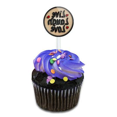 live laugh love hearts cake cupcake toppers