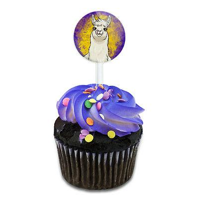Llama Sticking Out Tongue Cake Cupcake Toppers Picks Set