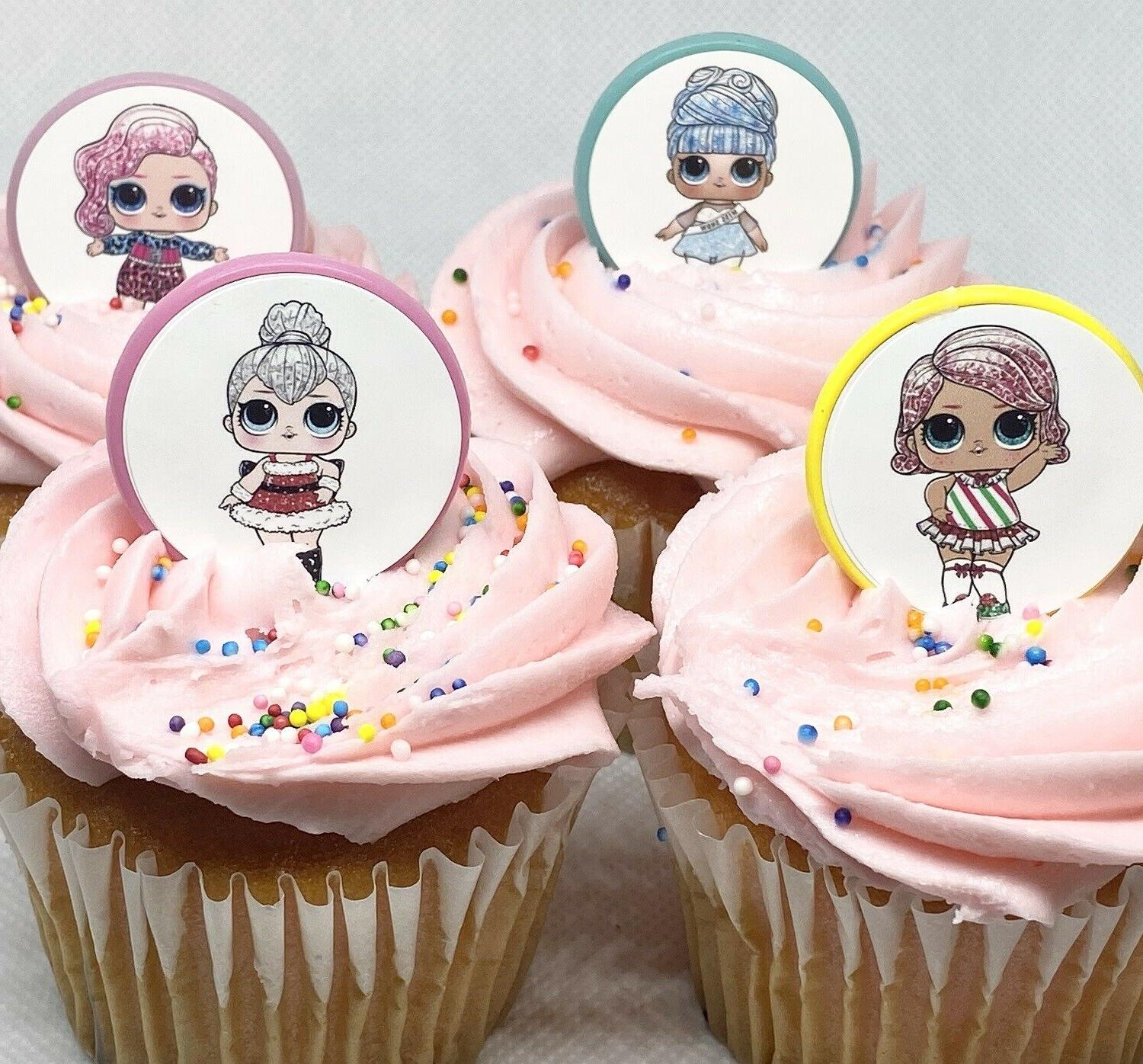 LOL Doll Glitter Cupcake Toppers Birthday Party Favors Party