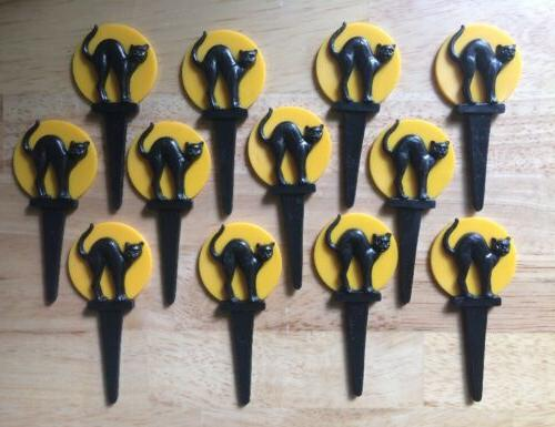 Lot of 12 Ct WILTON 3D Black Cat Halloween Cupcake Pick Topp