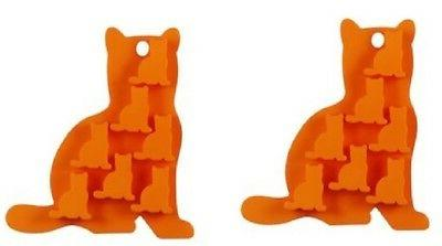 Lot of 2 Cat kitty Silicone Candy Molds for ice cubes cupcak