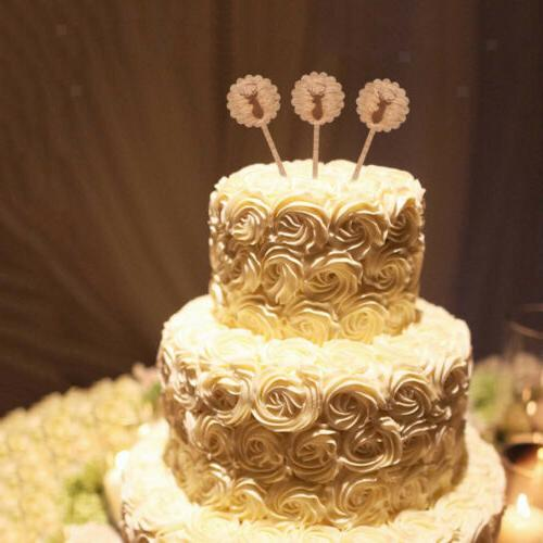 MagiDeal 10pcs Deer Head Wood Cupcake Topper Wedding Party F