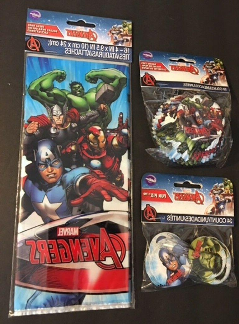 Marvel Avengers cupcake liners toppers and treat bags party