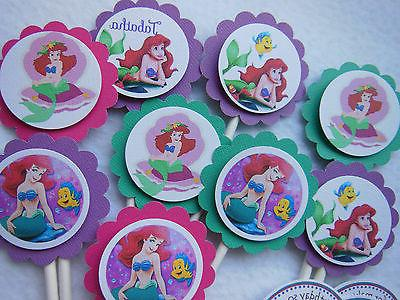Ariel Mermaid Cupcake Toppers Birthday Party NEW Pack 12 Und