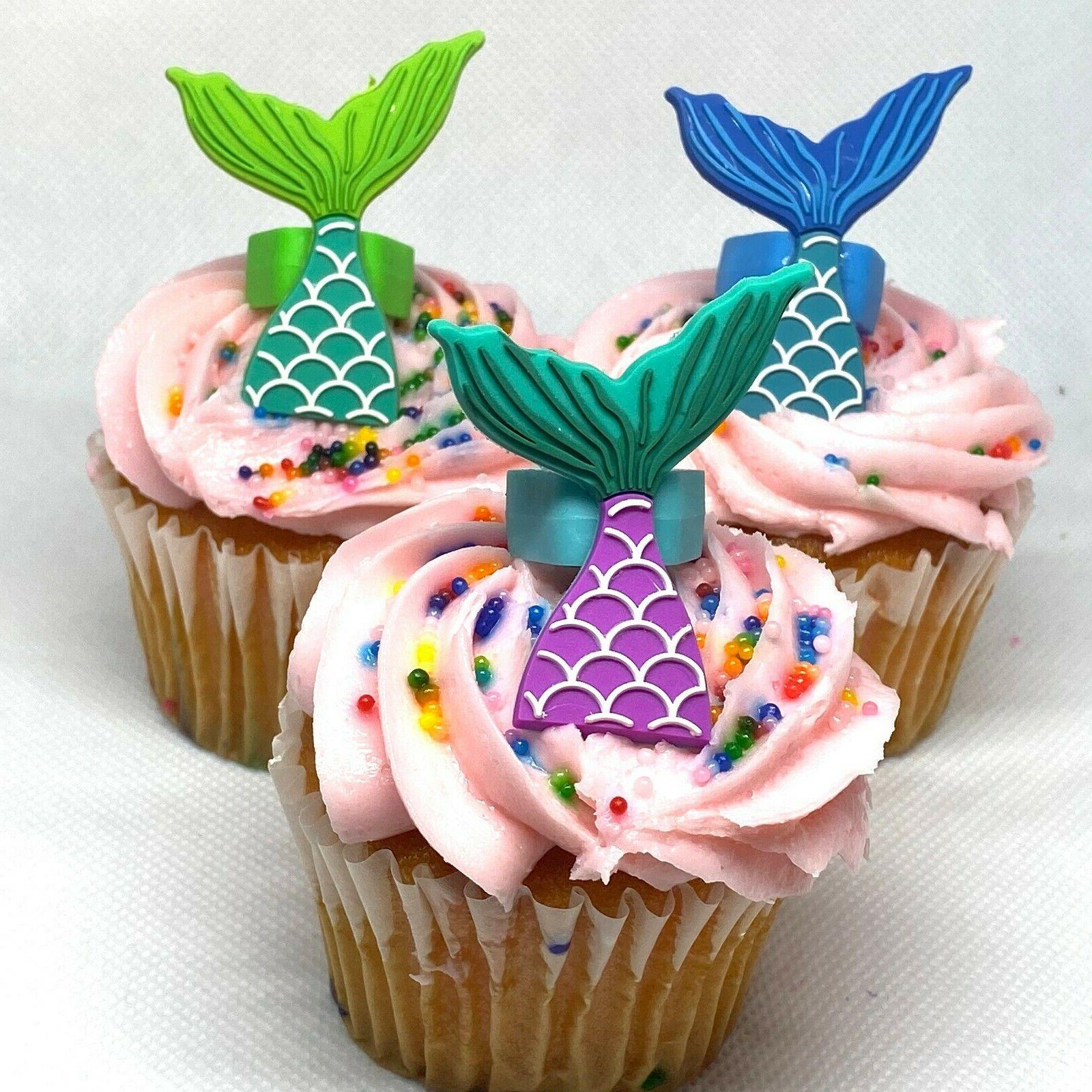 Mermaid Cupcake Cake Decorations Party Favors Set of