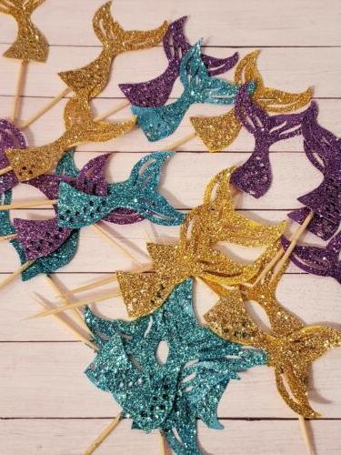 mermaid glitter cupcake toppers 24ct