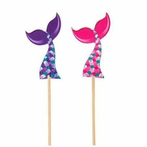 mermaid tail cupcake toppers birthday party supplies