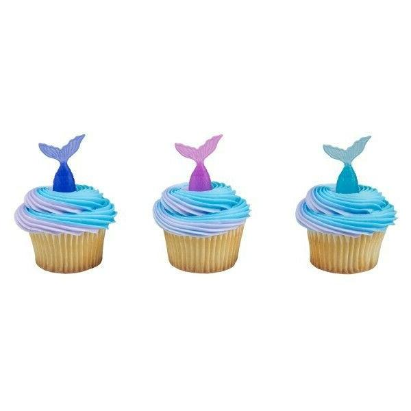 MERMAID Cupcake Toppers Favors Birthday Decor - 12 count