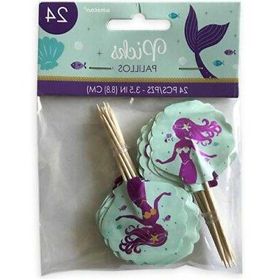 mermaid wishes cupcake toppers 24 birthday party