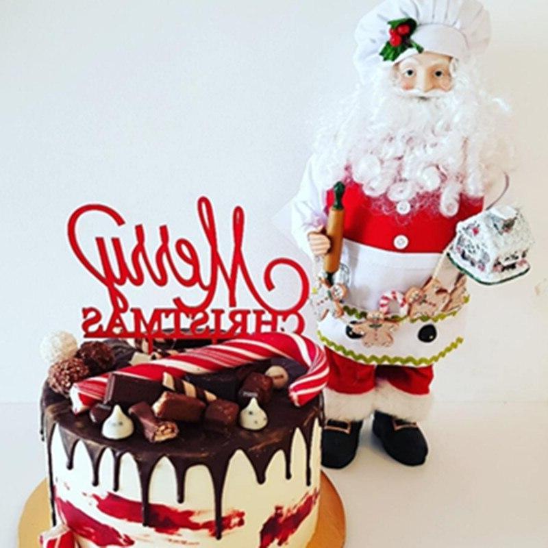 Merry Christmas Acrylic <font><b>Topper</b></font> <font><b>Cupcake</b></font> For Party 2019