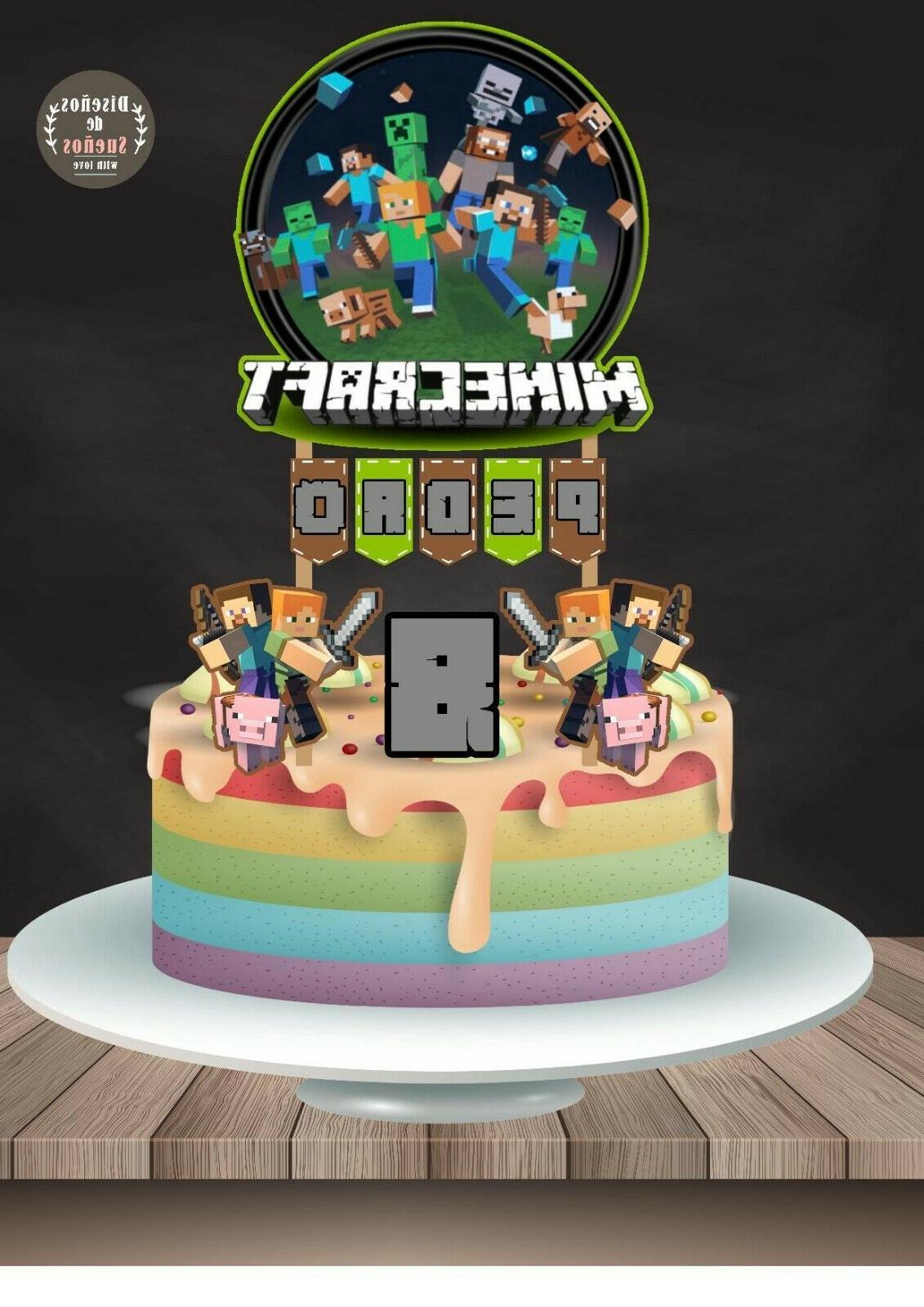 minecraft cake topper minecraft birthday topper minecraft