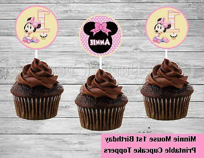 minnie mouse 1st birthday cupcake toppers