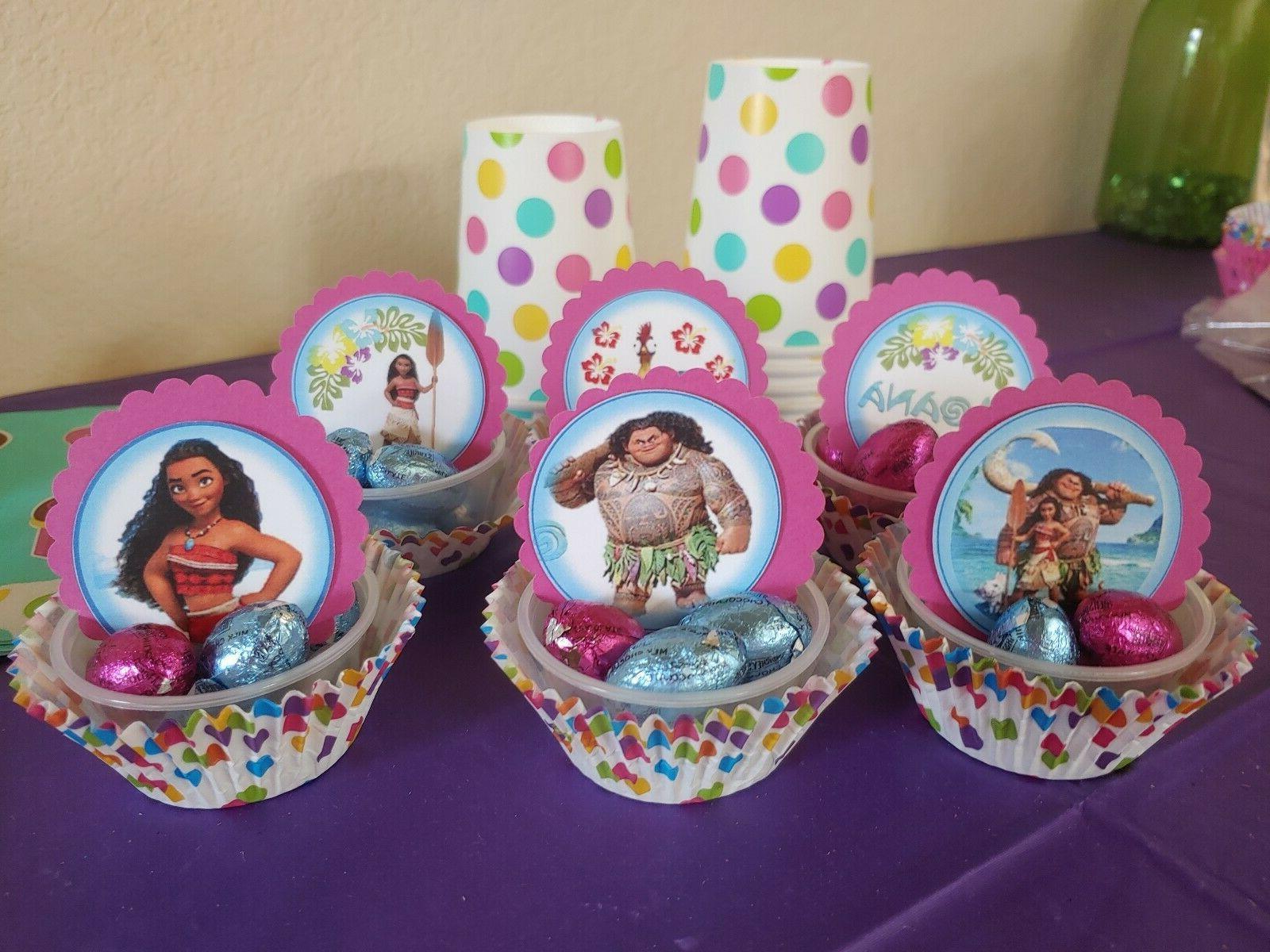 Moana cupcake round, party, Moana movie