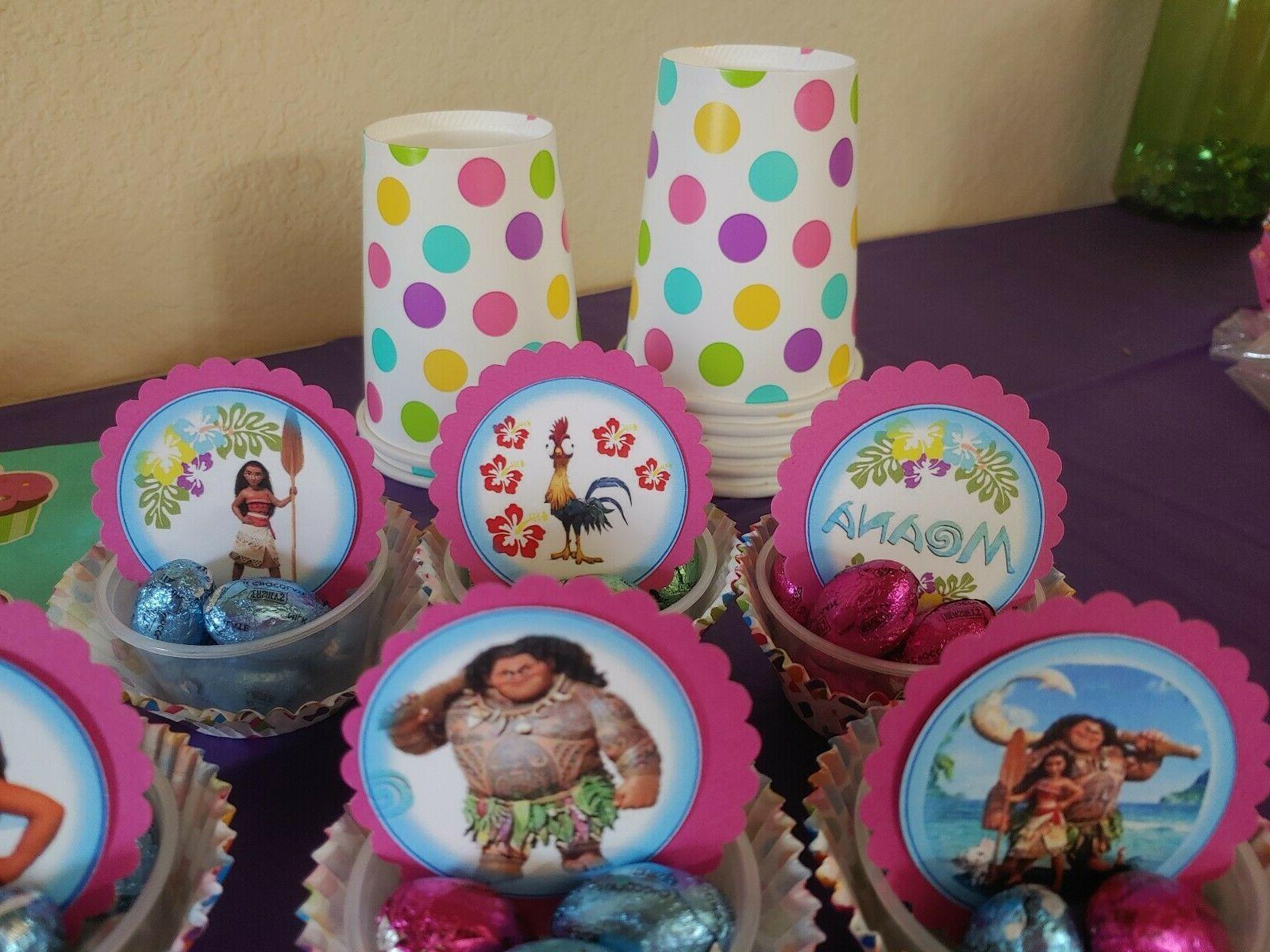 Moana cupcake round, party, Moana