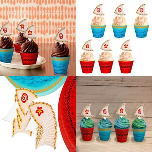 Moana Cupcake Toppers Party - Hawaiian Birthday Decorations