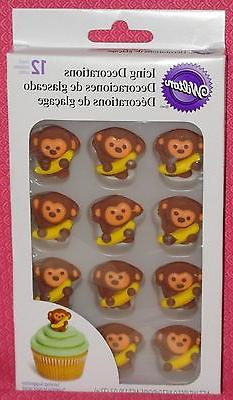 Monkey Edible Cupcake Toppers,Jungle,Royal Icing,Wilton,710-