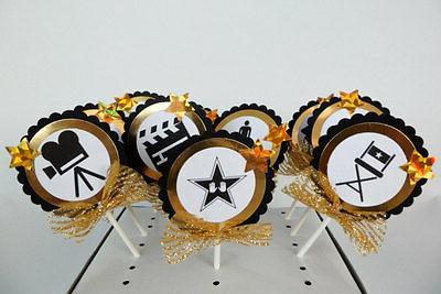 Movie Theme/ Oscar Academy Cupcake Toppers, birthday party,