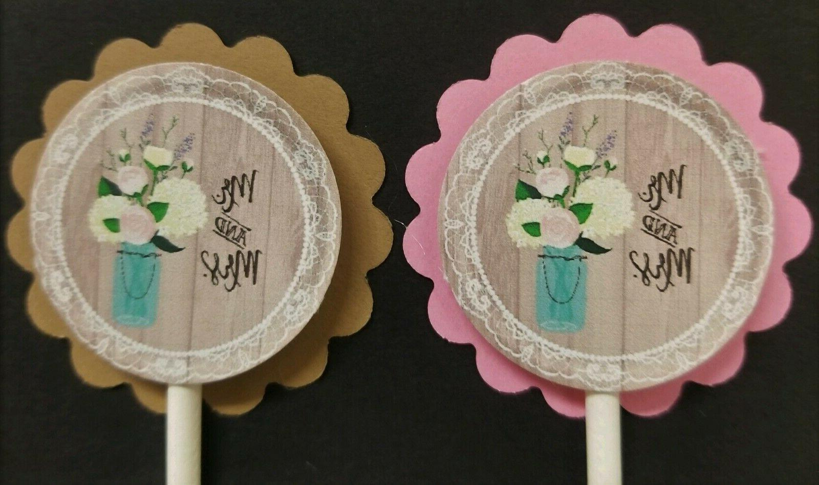 mr and mrs wedding engagement cupcake toppers