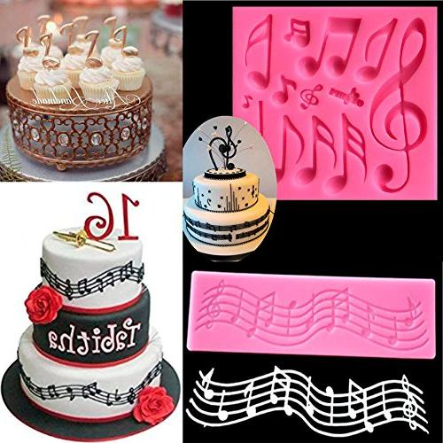 Sakolla(Set 2)Multi Music Note Lace Mold Fondant Mat Cake Tool Candy Mold Tool