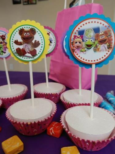 Muppet toppers,girl party,round,multicolor,24 pieces