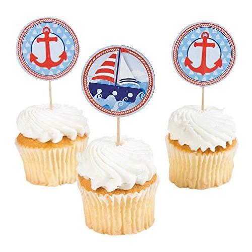 nautical sailor theme cupcake picks