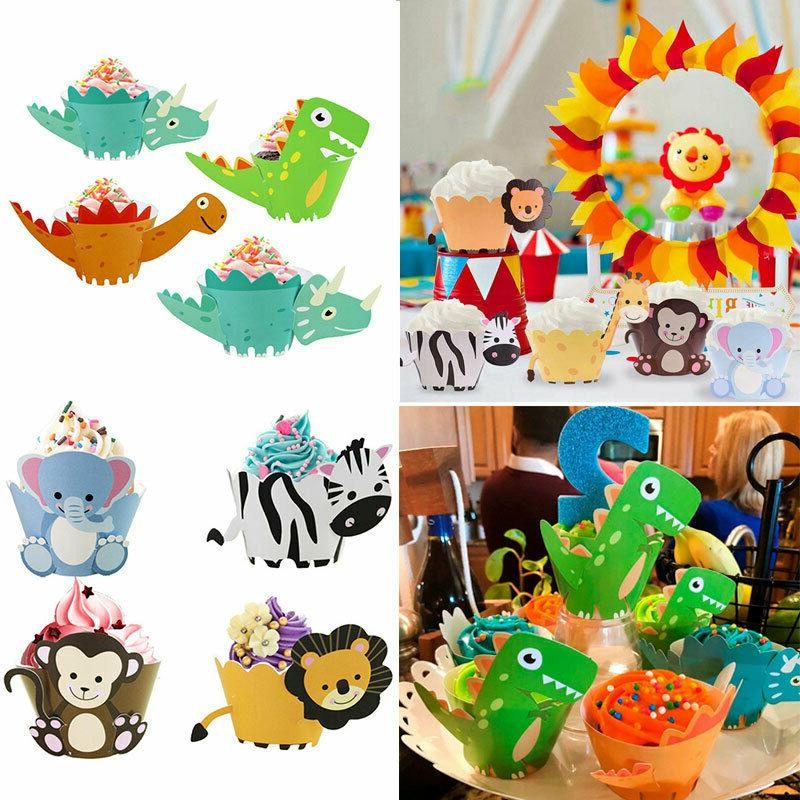 New 12pcs Animals Cupcake Toppers Cake Wrapper Dinosaur Jung