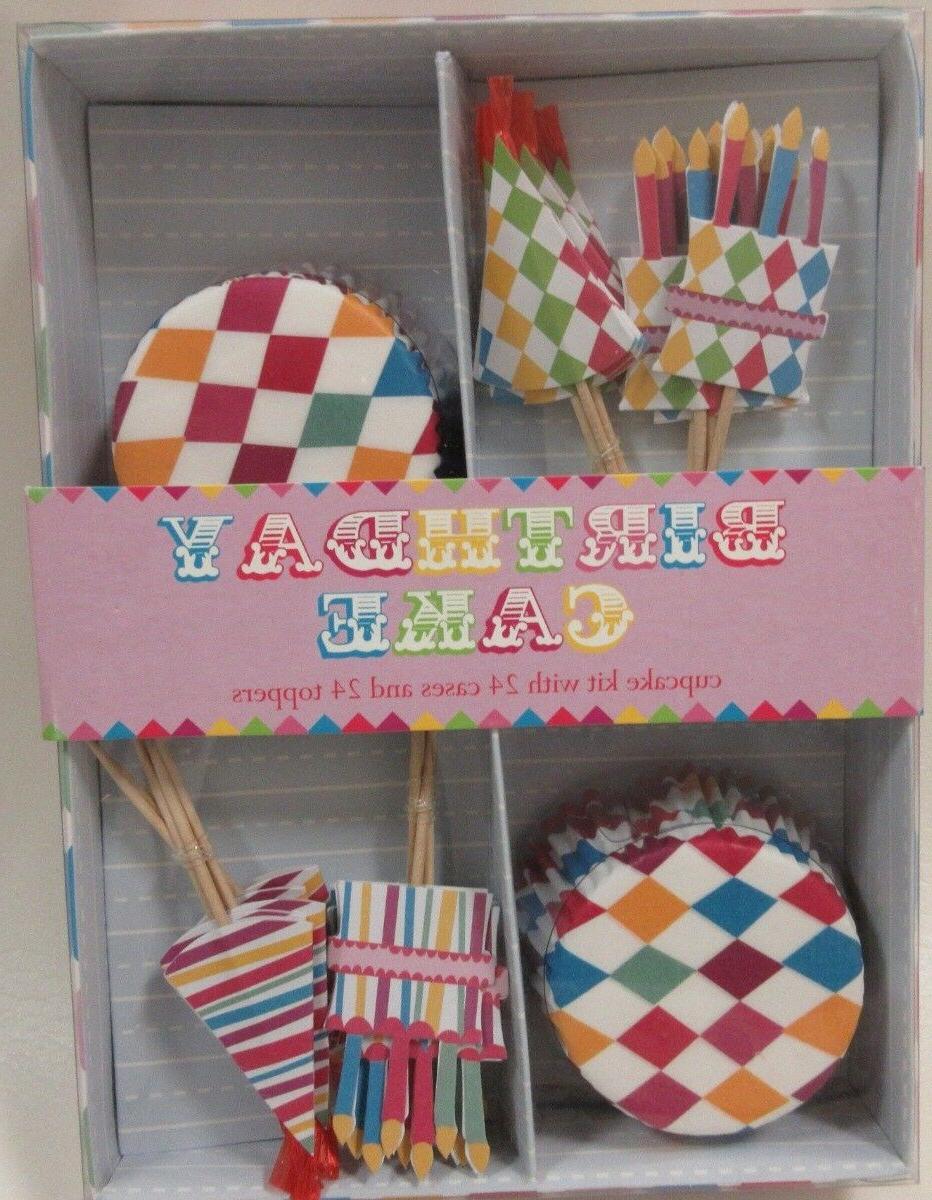NEW Meri Meri Birthday Cake Cupcake Kit 24 Cupcake Cases & 2