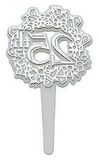New Cake Toppers Silver 25th Cupcake Picks One Dozen 25th An