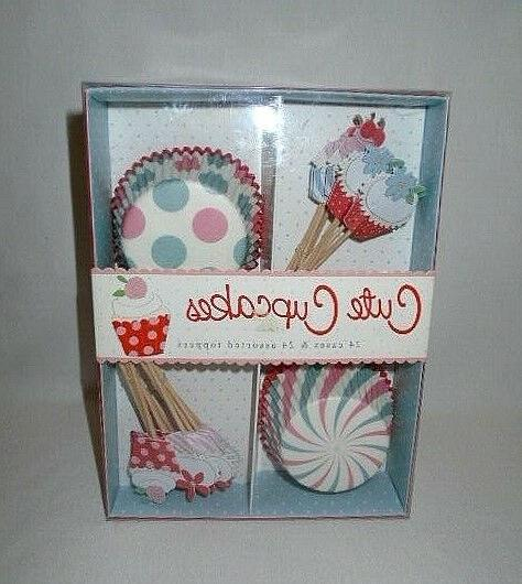 new cute cupcake kit 24 pc toppers