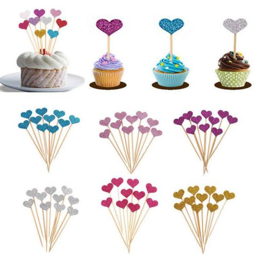 10-50X Love Heart Birthday Cupcake Toppers Party Baby Shower