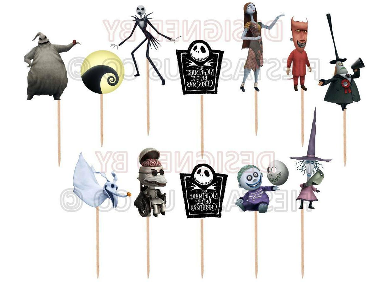 nightmare before christmas cupcake toppers 12 or