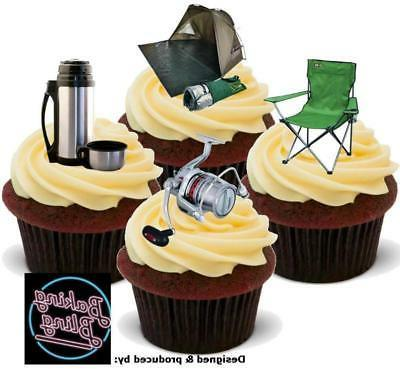 novelty fishing camping mix edible cake cupcake