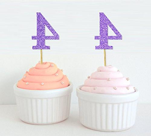 number 4 birthday year cupcake toppers birthday