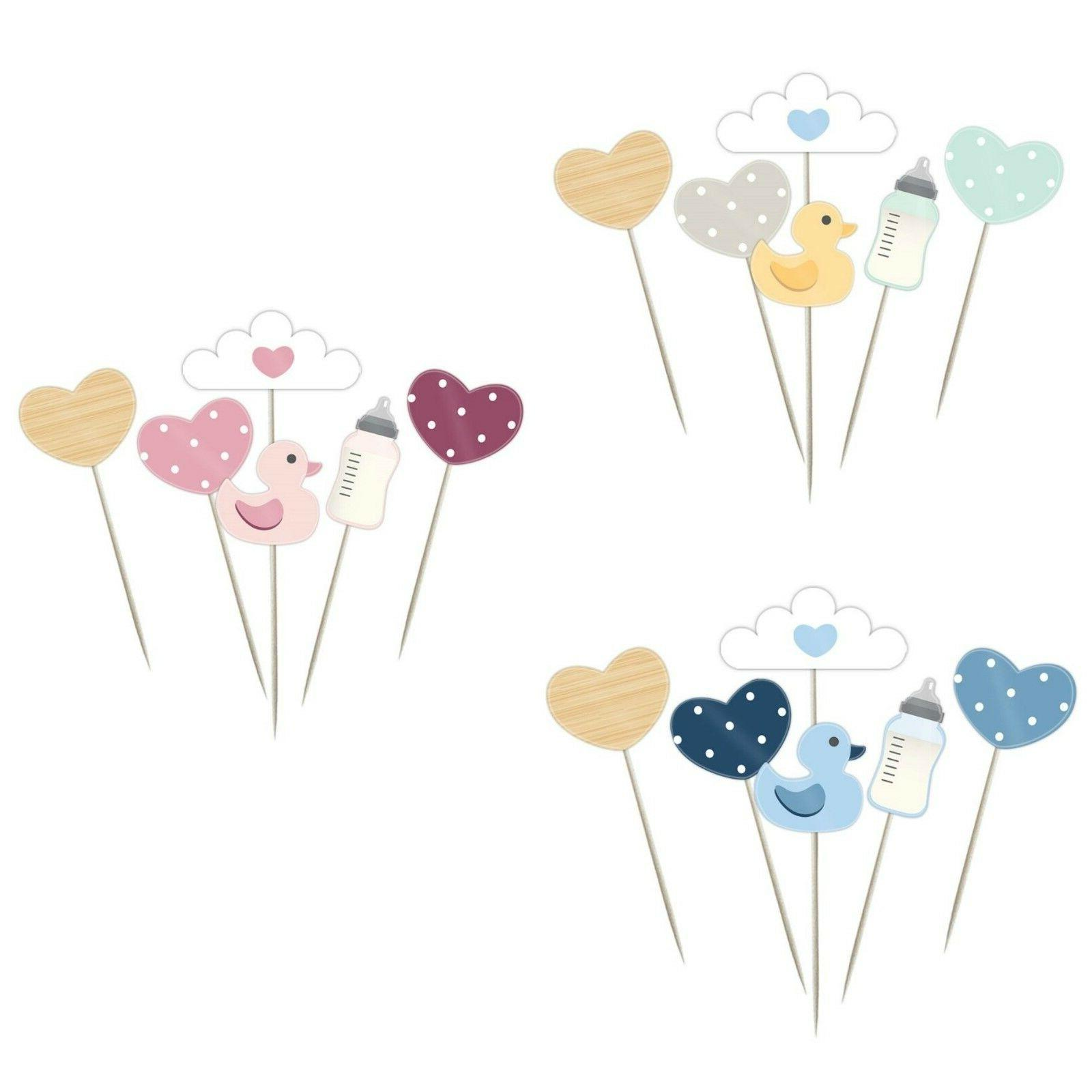Oh Baby, Baby Shower Cupcake Picks / Cake Toppers, Pink, Blu