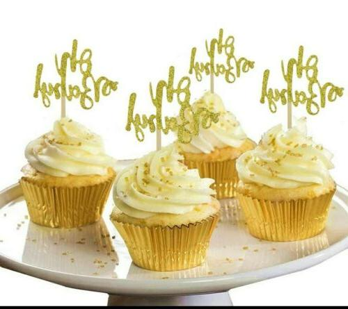 oh baby cupcake toppers 20pcs gold glitter