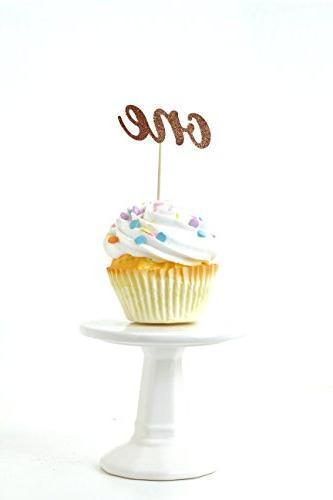 one rose gold glitter cupcake