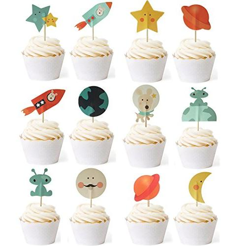 outer space dog cupcake toppers