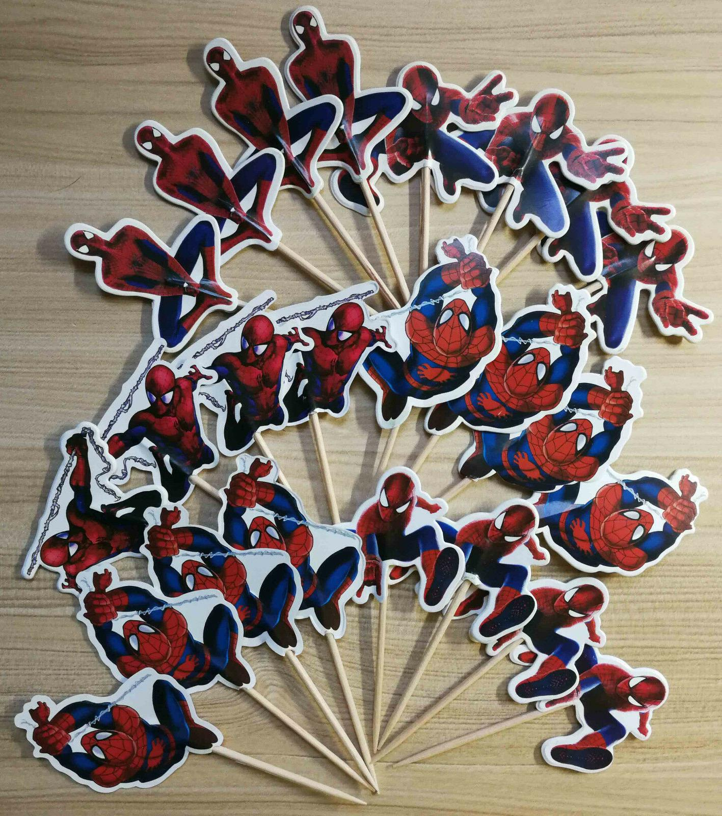 PACK OF 24 SPIDERMAN SUPERHERO CUPCAKE CAKE TOPPER BIRTHDAY