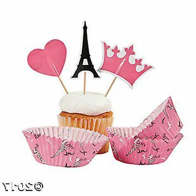 PARIS CUPCAKE TOPPER PICKS and BAKING CUPS  EIFFEL TOWER
