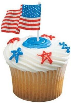 Patriotic Cake Toppers Waving American Flag Cupcake Picks On