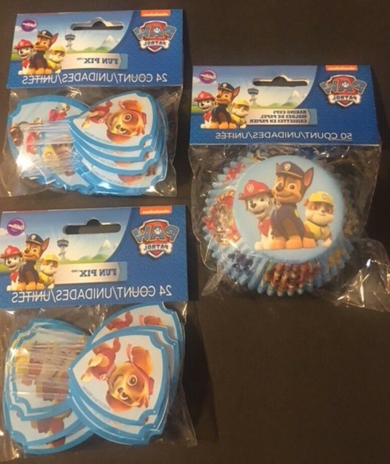 Paw Patrol Cupcake Liners and Fun Pix toppers Wilton lot