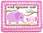 PINK  BABY ELEPHANT and MOMMY Image Edible cake topper decor